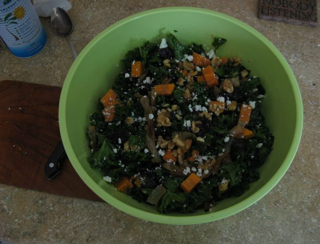 Kale salad. Inspired by Nancy W, who was inspired by Martha (THE Martha).